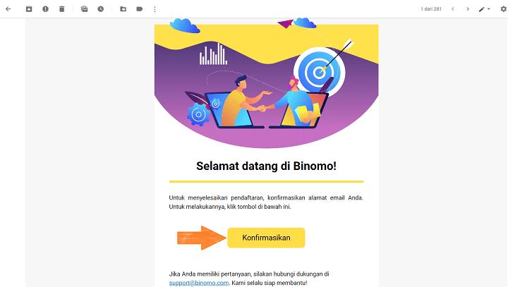 Konfirmasi Email Akun Binomo