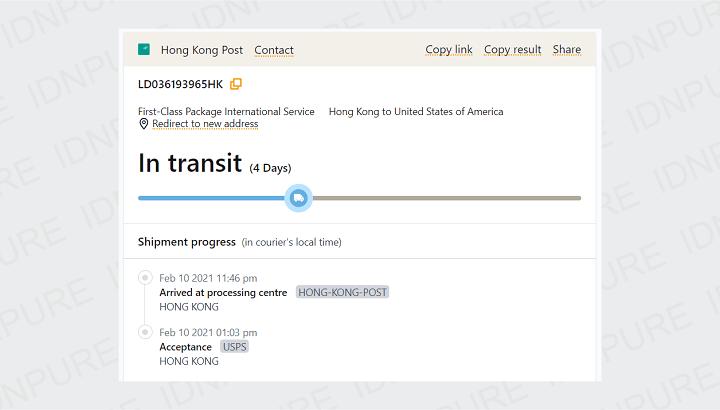Tracking Paket SEN HONG dari China